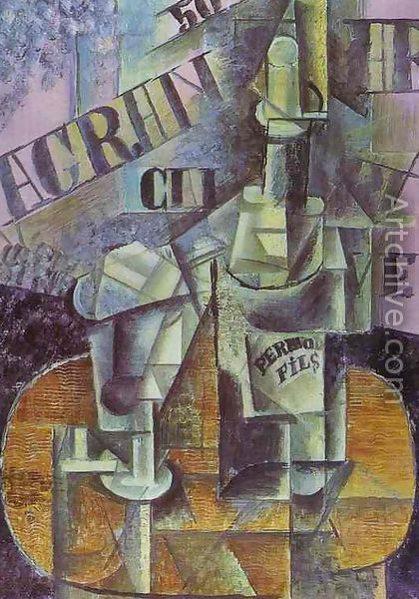 Пабло Пикассо «Бутылка Перно и стакан» (1912)